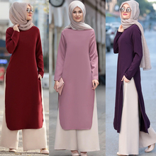 Muslim Abaya Dress Long Tops Arab Turkey Dubai Brief Solid Side Split O Neck Long Sleeve Top Eid Ranmadan Islamic Clothing Ropa