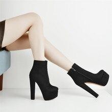 Onlymaker נשים פלטפורמת בוהן עגול מגפי קרסול עבה גבוהה העקב שחור ואדום צד Zip גבירותיי נעליים בתוספת גודל US5 ~ US15