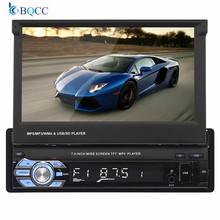 1Din Car Audio HD cyfrowy 7 chowany ekran dotykowy Stereo MP5 odtwarzacz widok z tyłu kamery zestaw głośnomówiący Bluetooth radio samochodowe tanie tanio NoEnName_Null 60W*4 9601 1 5kg W desce rozdzielczej ABS PCB Angielski 87 5-108MHz 12 v 18 4*15 8*6 2cm 1080p WINCE Black