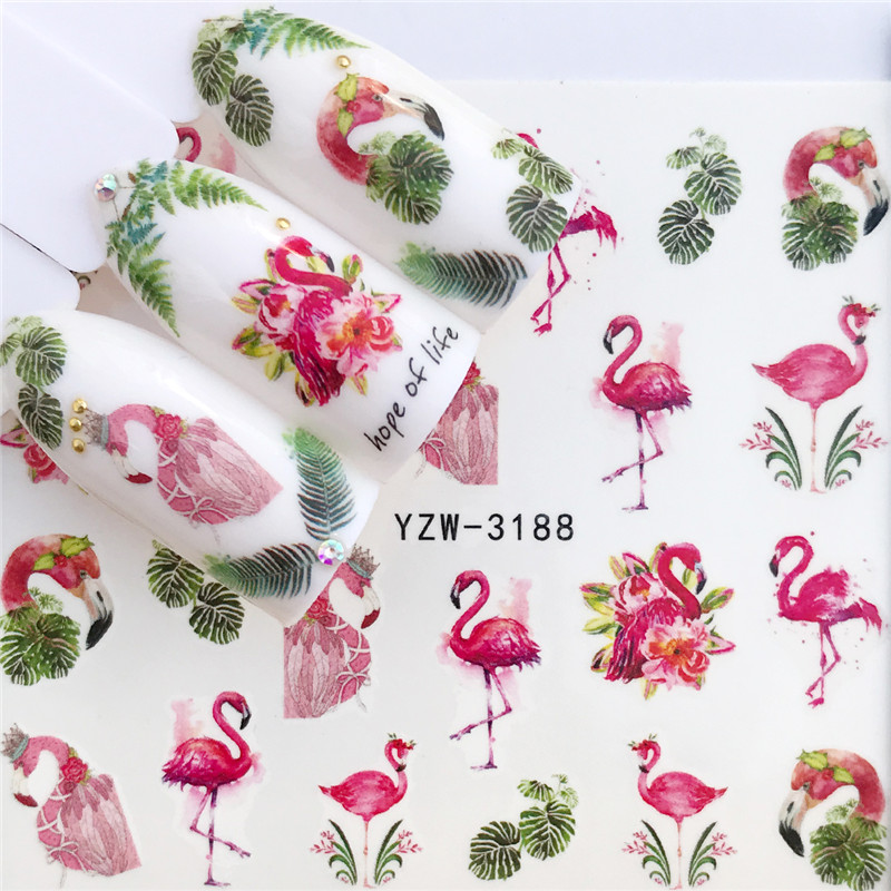 1 PC Nail Sticker Water Decals Flamingo Flower Cat Butterfly Cactus Transfer Nail Art Decoration