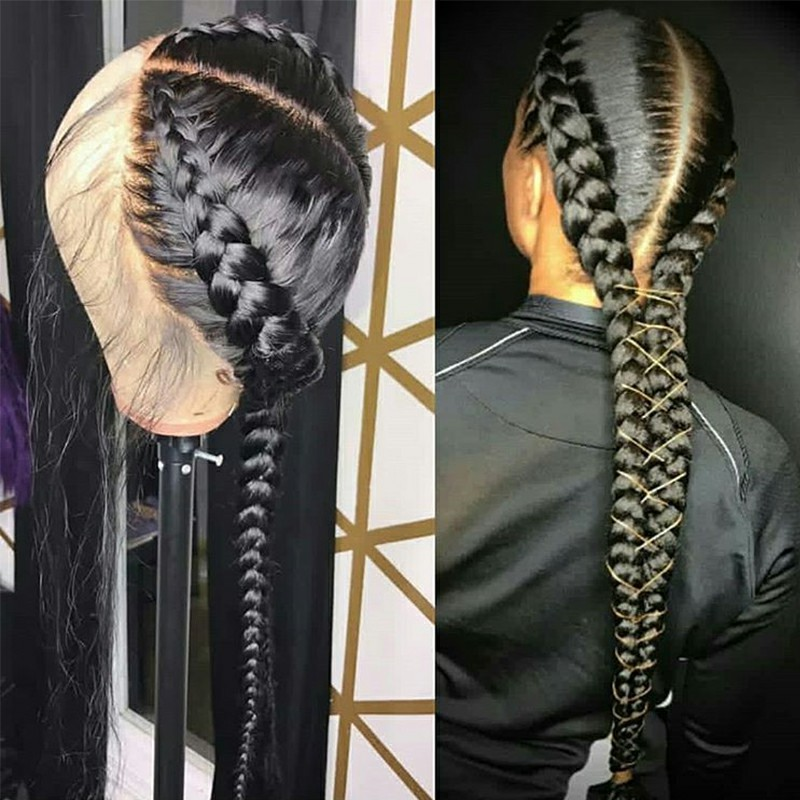 Pre Plucked Full Lace Human Hair Wigs With Baby Hair Straight Brazilian Transparent Lace Wig Braided Glueless Full Lace Wig Remy