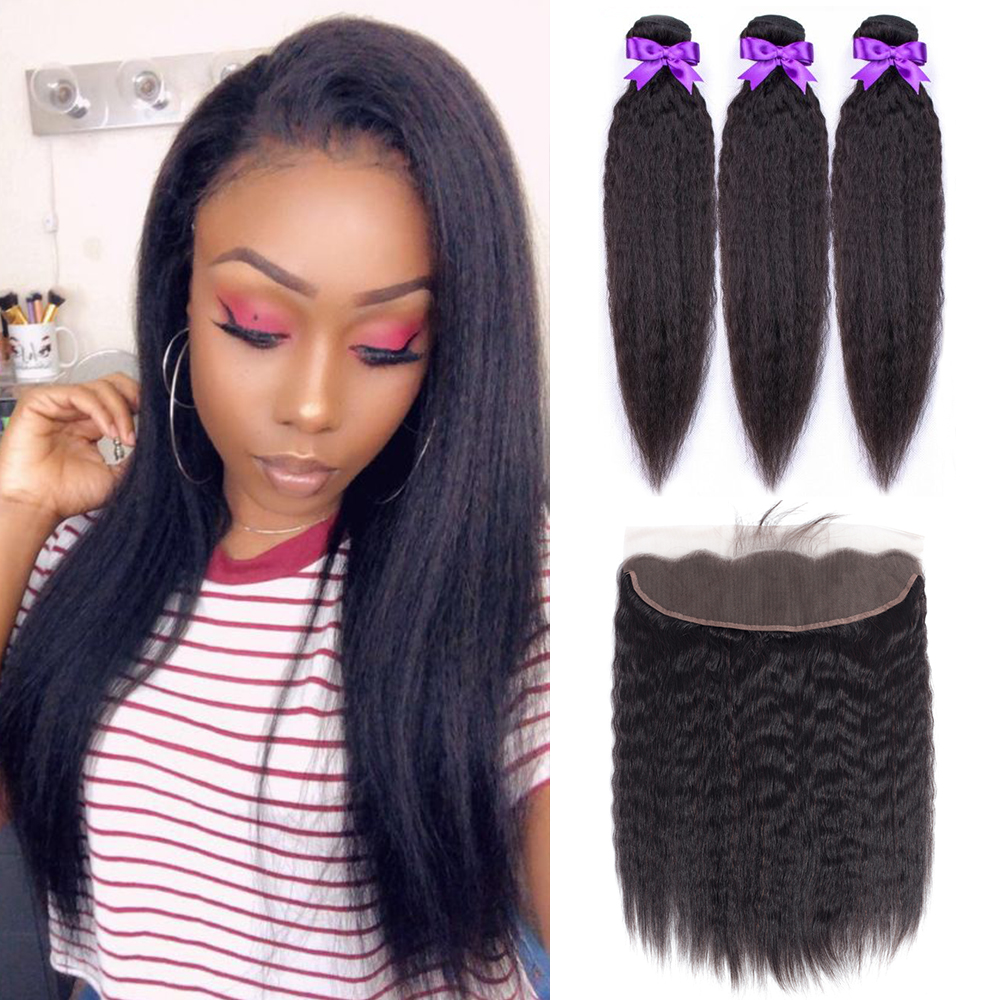 Kinky Straight Hair 3 Bundles With Frontal Malaysia Hair Weave Bundles Corase Yaki Hair Bundles Non Remy Hair Extension