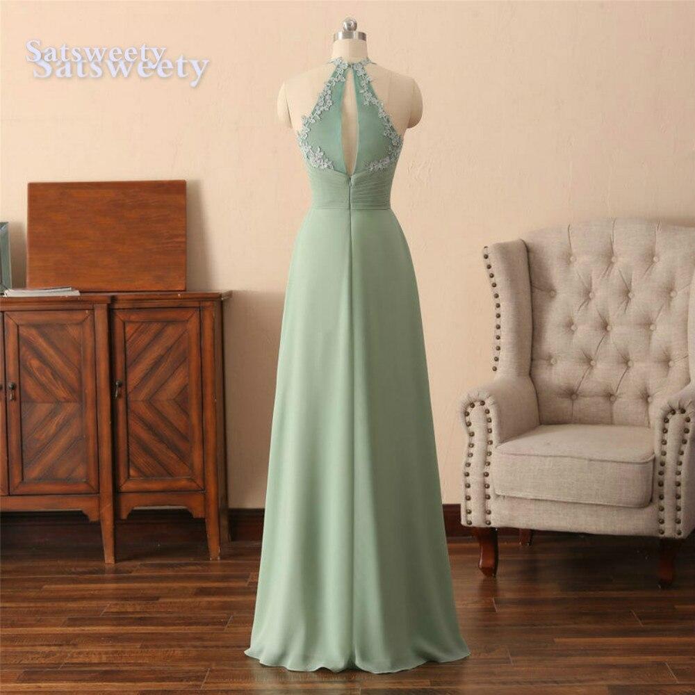 vestido madrinha Mint Bridesmaid Dresses Long Chiffon Floor Length wedding party dress robe demoiselle d'honneur