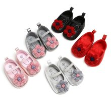 1 Pair Baby Girl Shoes Lovely Flower PU Leather Shoes Anti-Slip Sneakers Kids Soft Sole Toddler Shoes Princess Shoes 0-12 Month(China)