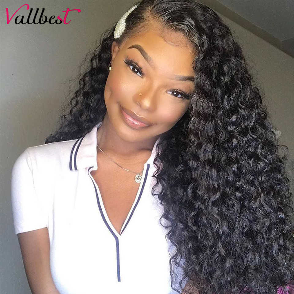 Vallbest 13X4 Lace Front Human Hair Wigs Brazilian Water Wave Lace Frontal Wig Average Cap Size 1B# Remy Lace Wig Human Hair