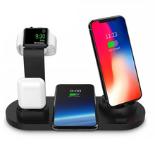 10W Qi Wireless Charger Dock Station 4 in 1 Stand For Apple Watch Iphone Airpods Micro USB Type C Fast Charging QC 3.0 Charger недорого