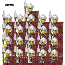 21PCS Military Royal King Knight Roman Spartacus Medieval Soldier Red Lion Statue Child Clone Minifigure DIY Building Block Toy