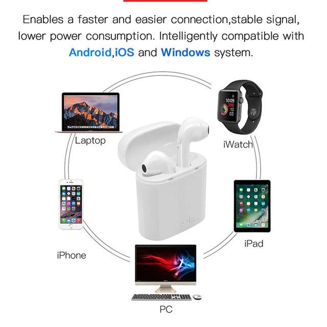 i7s TWS Wireless Earpiece  Bluetooth 5.0 Earphones sport Earbuds Headset With Mic For smart Phone  Xiaomi iphone Samsung Huawei 4