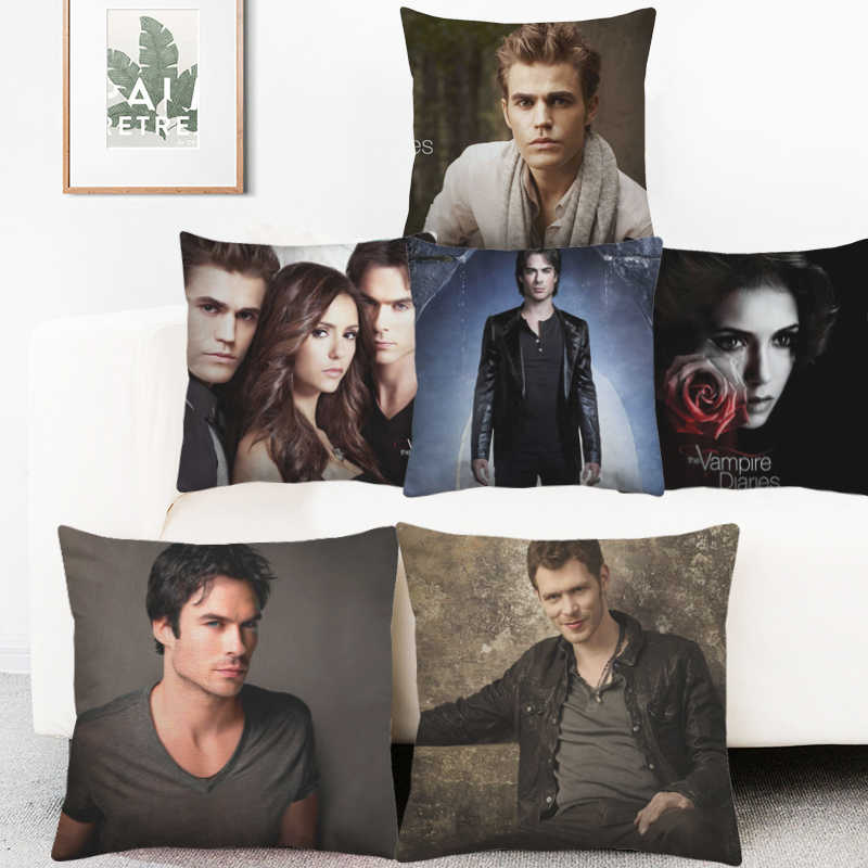 Ian Somerhalder Joseph Morgan Potrait Bantal Cover The Vampire Diaries Sarung Bantal Dekoratif Sofa Melempar Sarung Bantal