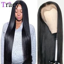 Parrucche per capelli umani anteriori in pizzo 13X4 dritte Tracy 32 pollici parrucche frontali in pizzo Remy malese a densità 250 Pre pizzicate per le donne