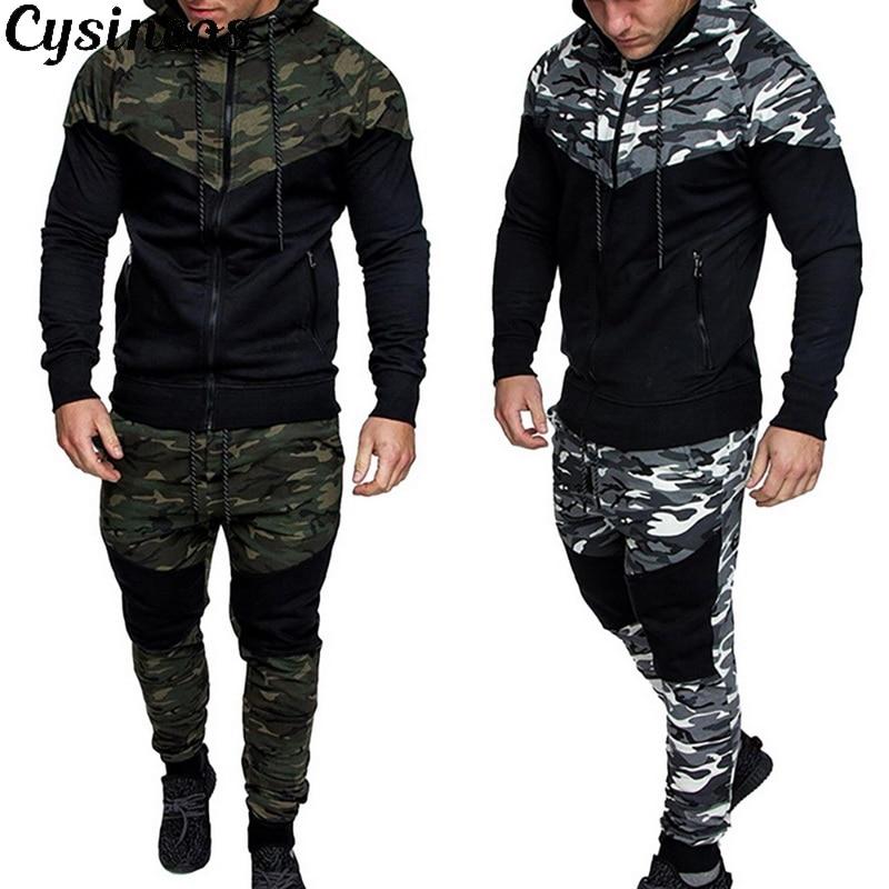 CYSINCOS 2020 NEW Men Causal Camouflage Print Sets Camo Jacket+Pants 2Pc Tracksuit Sportwear Hoodies Sweatshirt &Pant Suit Plus