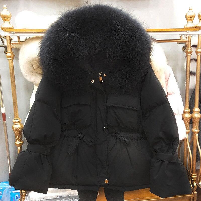 Large Natural Raccoon Fur Winter Jacket Women 90% White Duck Down Coats Thick Warm Parkas Sash Tie Up Short Snow Coat