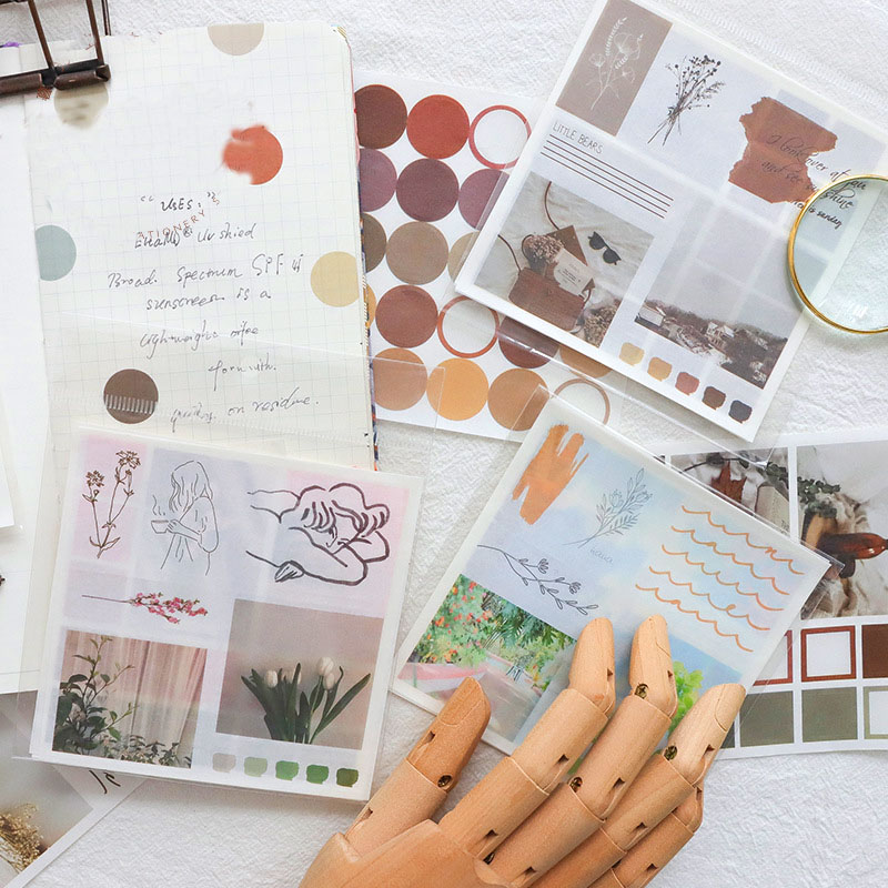 Mohamm Handbook Series Kawaii Cute Sticker Custom Stickers Diary Stationery Flakes Scrapbook 4PCS Decorative Stickers