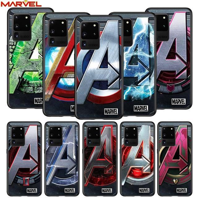 Marvel logo for Samsung S20 FE Ultra Plus A91 A81 A71 A51 A41 A31 A21S A72 A52 A42 A02S Soft Black Phone Case