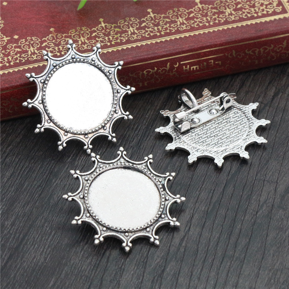 5pcs 20mm Inner Size Antique Silver Plated Brooch Pin Fashion Style Cabochon Base Setting  (D2-43)