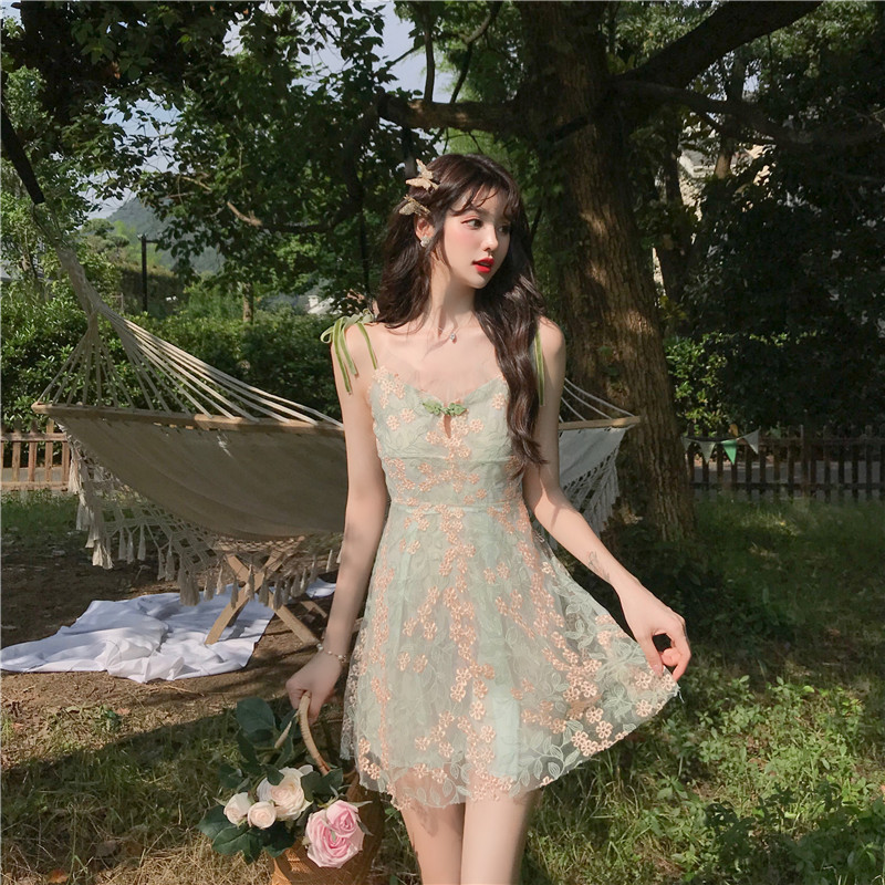 Korean Womens Sweet Mini Lace Splicing Dress Sleeveless Short Skirt Summer Dress