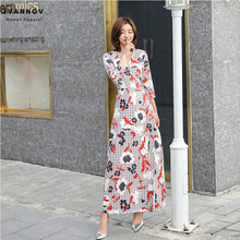 Korea Women Maxi Wrap Dress Floral Three-quarter Sleeve Lace-up Slim Elegant Bohemian Beach Ankle-length Vintage Clothng