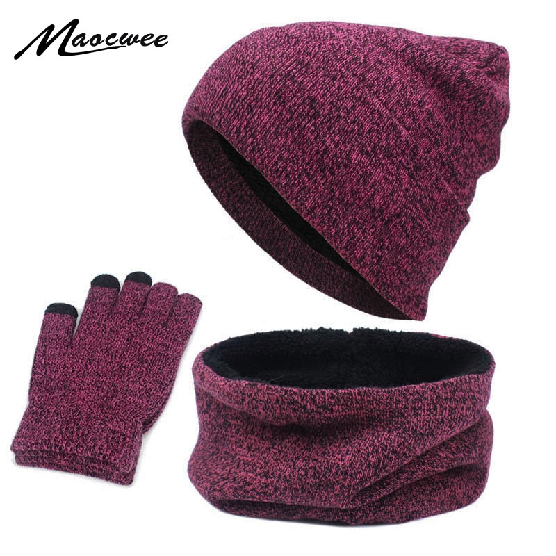 Hats Scarves Gloves Three-Piece Set Men Women Winter Warm Screen Touch Hat Thickscarf Glove Suits Boys Girls Beanies Scarf Set