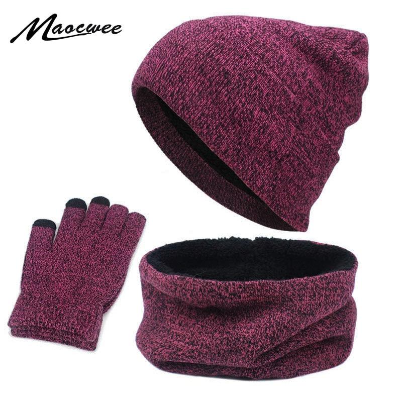 Hats Scarves Gloves Three-Piece Set Men Women Winter Warm Screen Touch Hat Thickscarf Glove Suits Boys Girls Beanies Scarf Set