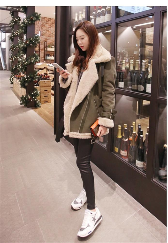 2018 Korean-style Loose And Plus-sized Mid-length Lambs Wool Cotton-padded Clothes Suede Fold-down Collar Thick Cotton Coat
