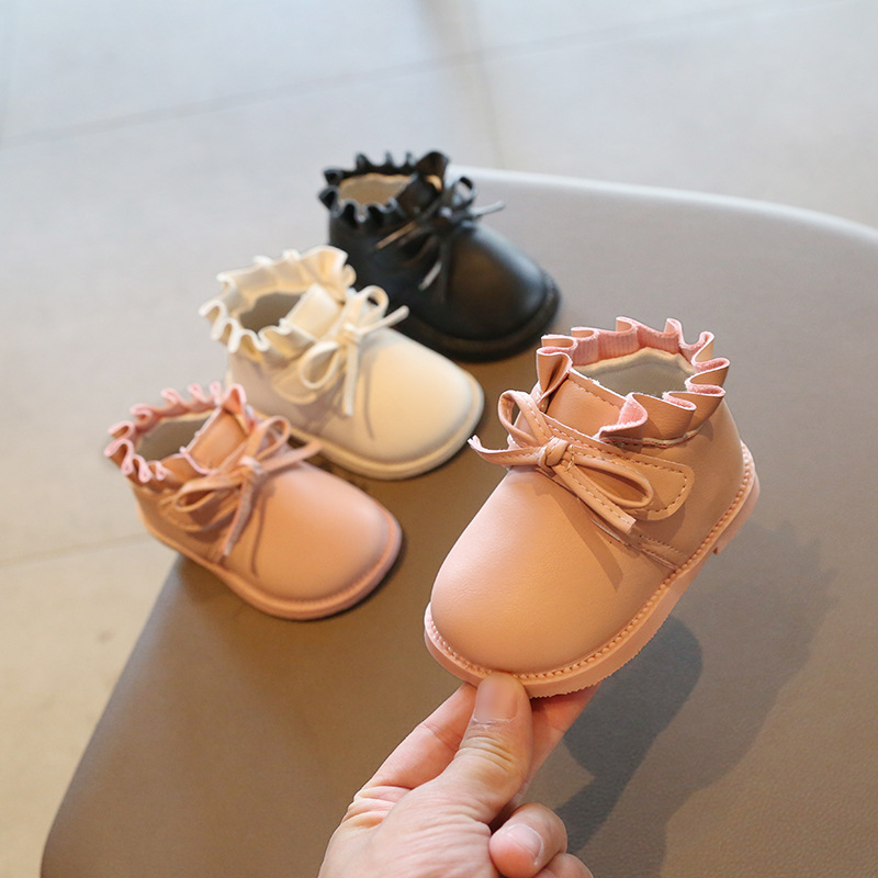 Little Girls PU Leather Shoes 2020 Spring Autumn Newborn Baby Boots Ruffles Babies Kids Girl Shoe Boot Infant Botas Bebe D02091