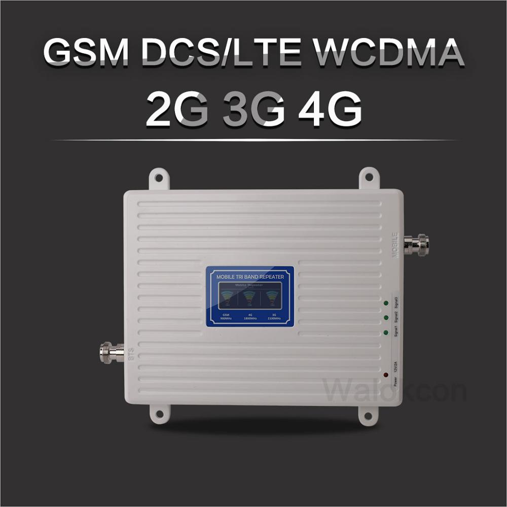 White 900/1800/2100 Cellular Amplifier 2G GSM 3G WCDMA 4G DCS 900 1800 2100 MHz Signal Repeater 4G LTE Booster With LCD Display