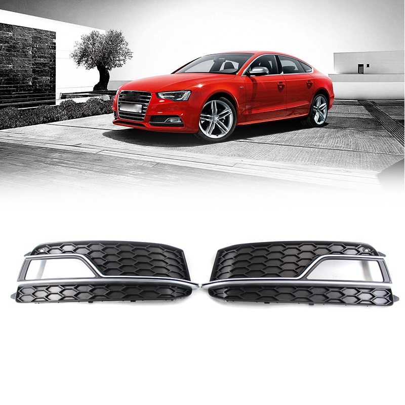 A Pair Front Bumper Honeycomb Fog Light Lamp Grille Chrome Grill Cover Fit for AUDI A5 Sline S5 2013-2017 8T0807681M 8T0807682M