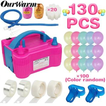 цена на Ourwarm Electric Balloon Pump Inflator Double Hole Portable Air Blower Eu/US Plug Nozzle Air Compressor Ballons Accessories