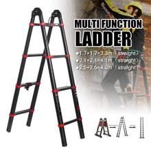 4,9 м, 6 ступеней, телескопическая лестница двойного назначения в елочку, многофункциональные удлинители, ширина 82 мм, алюминиевые лестницы