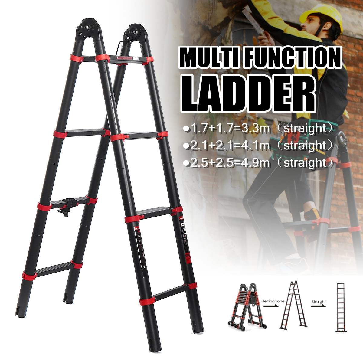 5 StepsTelescoping Dual-Use Herringbone Ladder Multifunctional Extension Tools Width 82mm Aluminium Ladders  4.1M