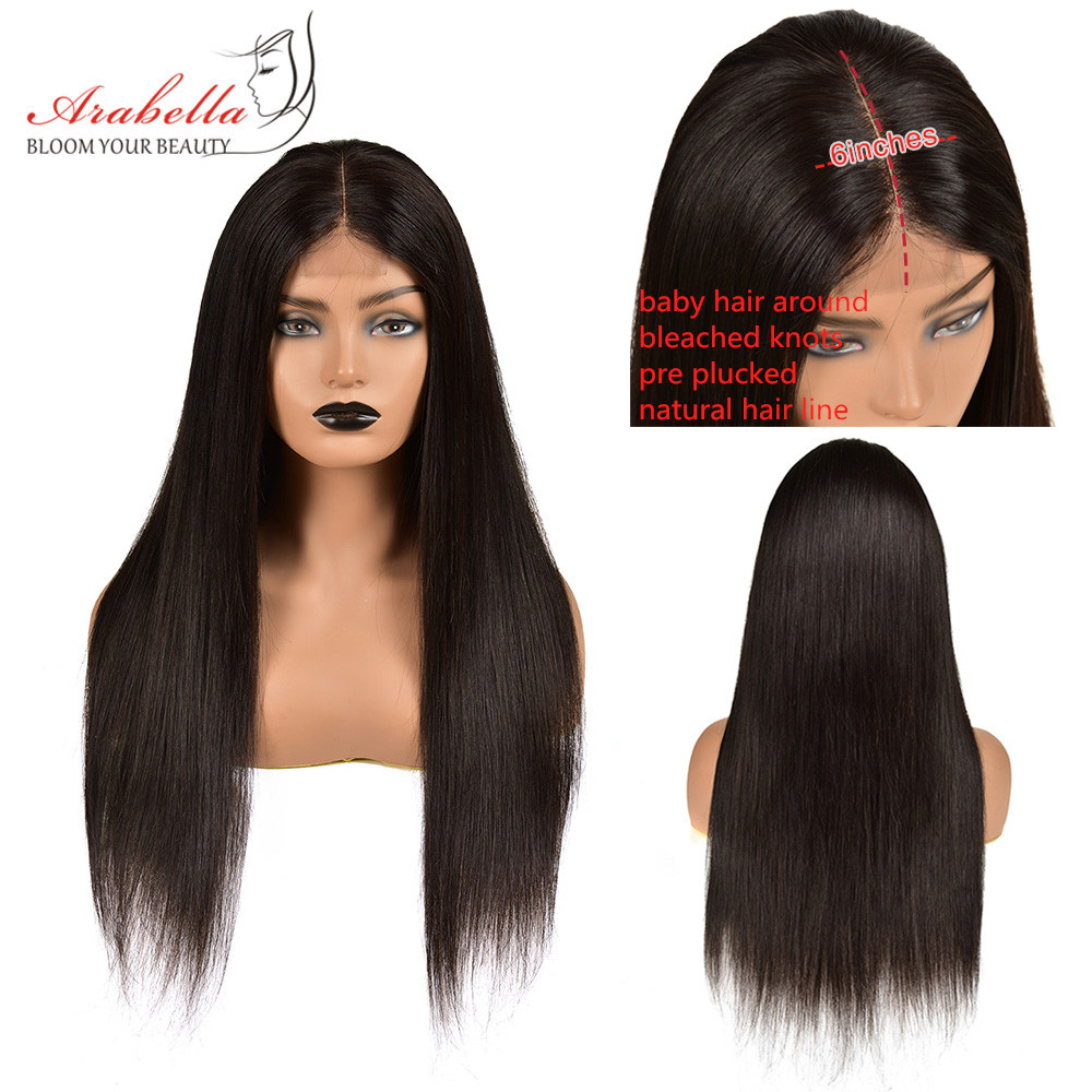 Straight Hair 2X6 Lace Closure Wig 180% Density Pre Plucked With Baby Hair Natural Hair Line Arabella  Hair Wigs 2