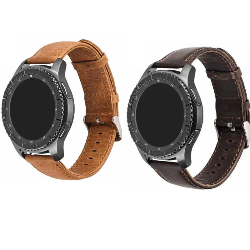 leather band for Samsung Galaxy watch active 2 42 46 Gear S3 s2 huawei GT 2 honor pebble time Ticwatch s s2 1 2 E pro strap 22mm