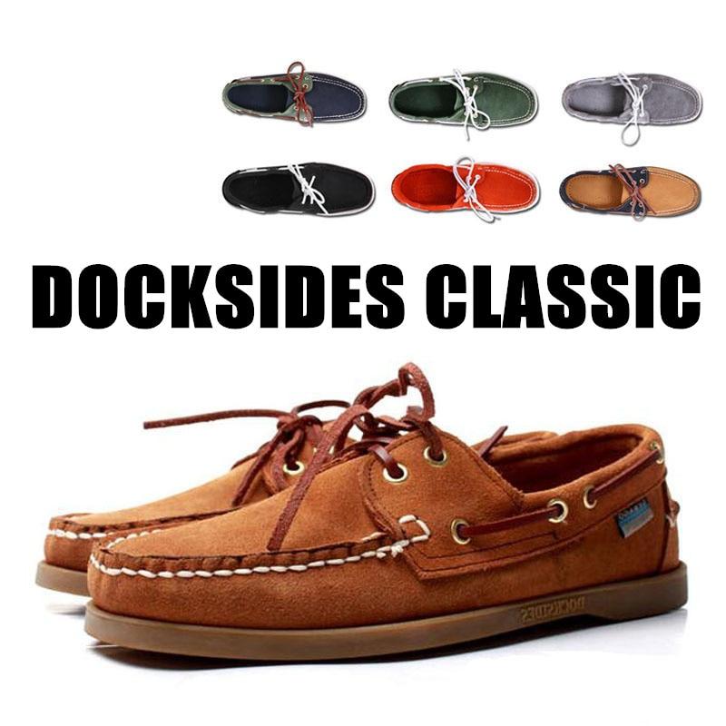 Chaussure Nautique Homme Docksides De Men Genuine Leather Boat Shoes,Plus Big Size Navy Black Brown Brand Flats Loafers A045