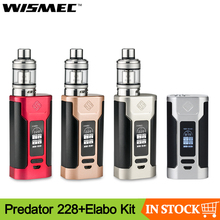 Clearence Original Wismec Predator 228 Mod With Elabo Atomizer Vape kit Support Dual 18650 Battery Electronic cigarette Kit