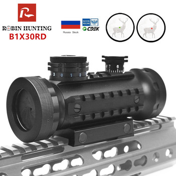 Tactical 1X30 Red Green illumination Adjustable Hunting Scope With Rails Mount Tactical Optical Riflescope Red Dot Sight Air Gun