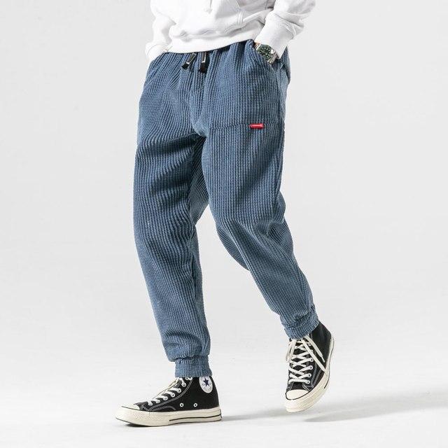 Corduroy Trousers Slim Hip Hop Men Winter Casual Pants Streetwear Fashions Black Jogger Pants Korean Style Clothes 2020 Clothing