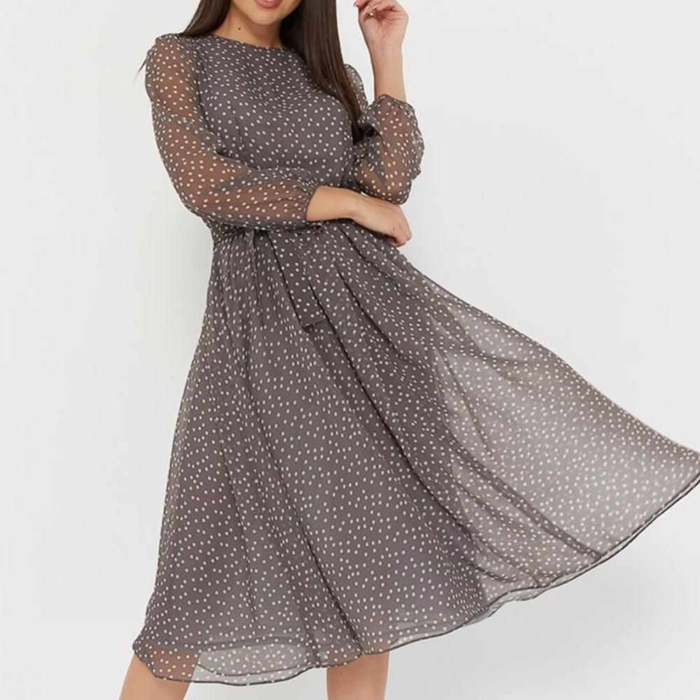 Polka Dot Print Women Elegant O neck Lantern Sleeve Elastic Waist Shashes Slim A line Party Dress Casual Simple Muslin Mid Dress