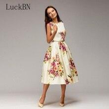 цены Brand Vintage Slim Party Dress Women Summer Sleeveless Dress Tunic Elegant Flowers Print Dress Vestido Casual A-line Dresses