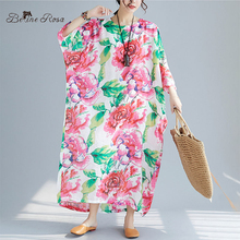 BelineRosa Bohemian Holiday Beach Dresses in Big Sizes Flower Printing Floral Printed Loose Long Maxi Dress MNWY0006