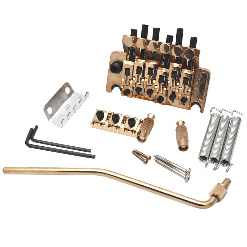 Electric Guitar Tremolo Bridge Systems With Logo Double Locking Edge With Whammy Bar,Gold