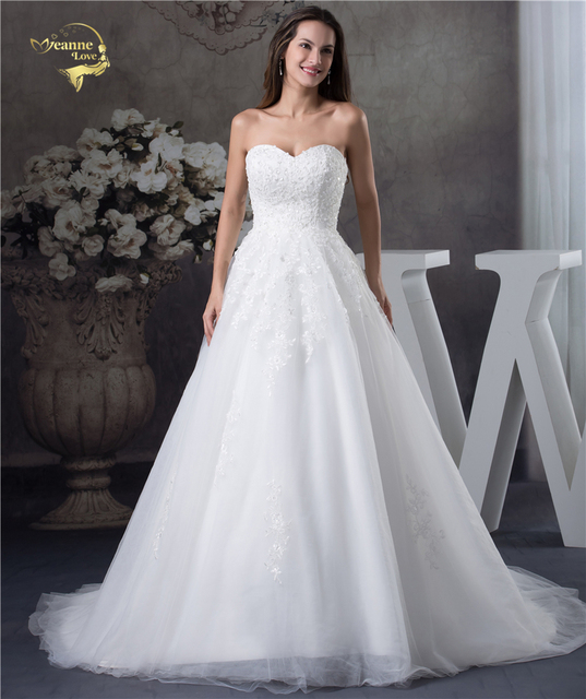 Jeanne Love Soft Tulle Sweetheart Wedding Dresses Perfect 2020 New Applique Lace Bridal Gown A Line Robe De Mariage JLOV75951