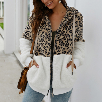 Puimentiua Women Winter Coat Top Long Sleeve Hooded Autumn Warm Jacket Outwear Casual Fashion Leopard Tops Hot Sale S-XL