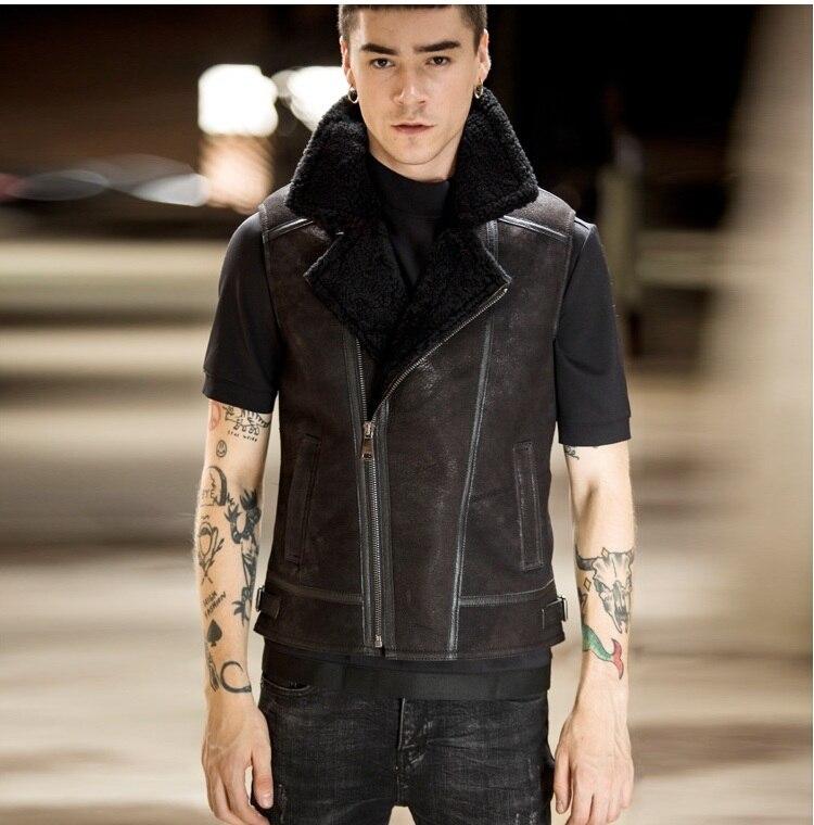Free Shipping.fashion Men Winter Warm Biker Wool Fur Jacket,classic Genuine Leather Vest.thick Sheepskin Shearling Coat.young