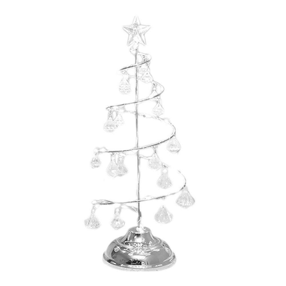 Светодиодный хрустальный светильник для рождественской елки на батарейках для украшения стола и окна дома и офиса TT-best - Цвет: Silver