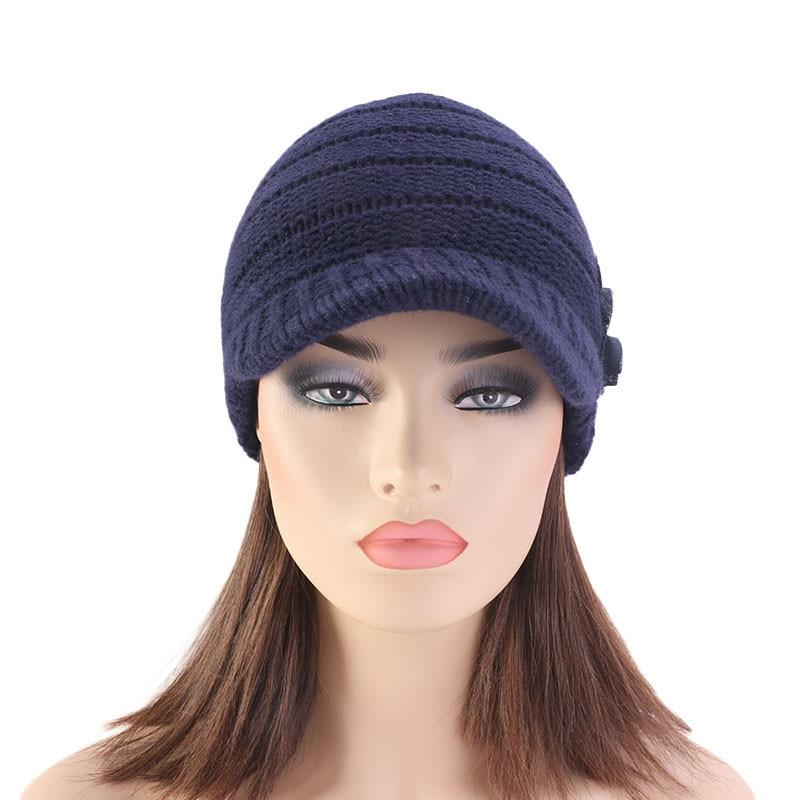 Women Floral Flower Stretchy Knit Visor Hat Cap Warm for Autumn Winter Outdoor TC21
