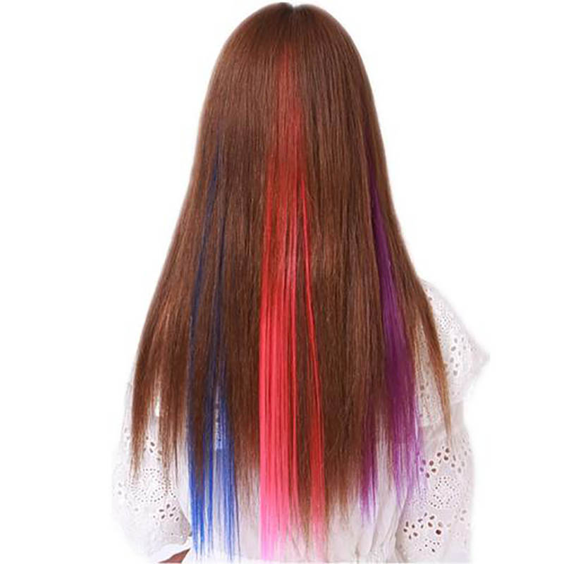 37Colors50cm  Synthetic Long Straight Hair Pieces Synthetic Hair  Color Strips Single Clip In One Piece Hair Extensions