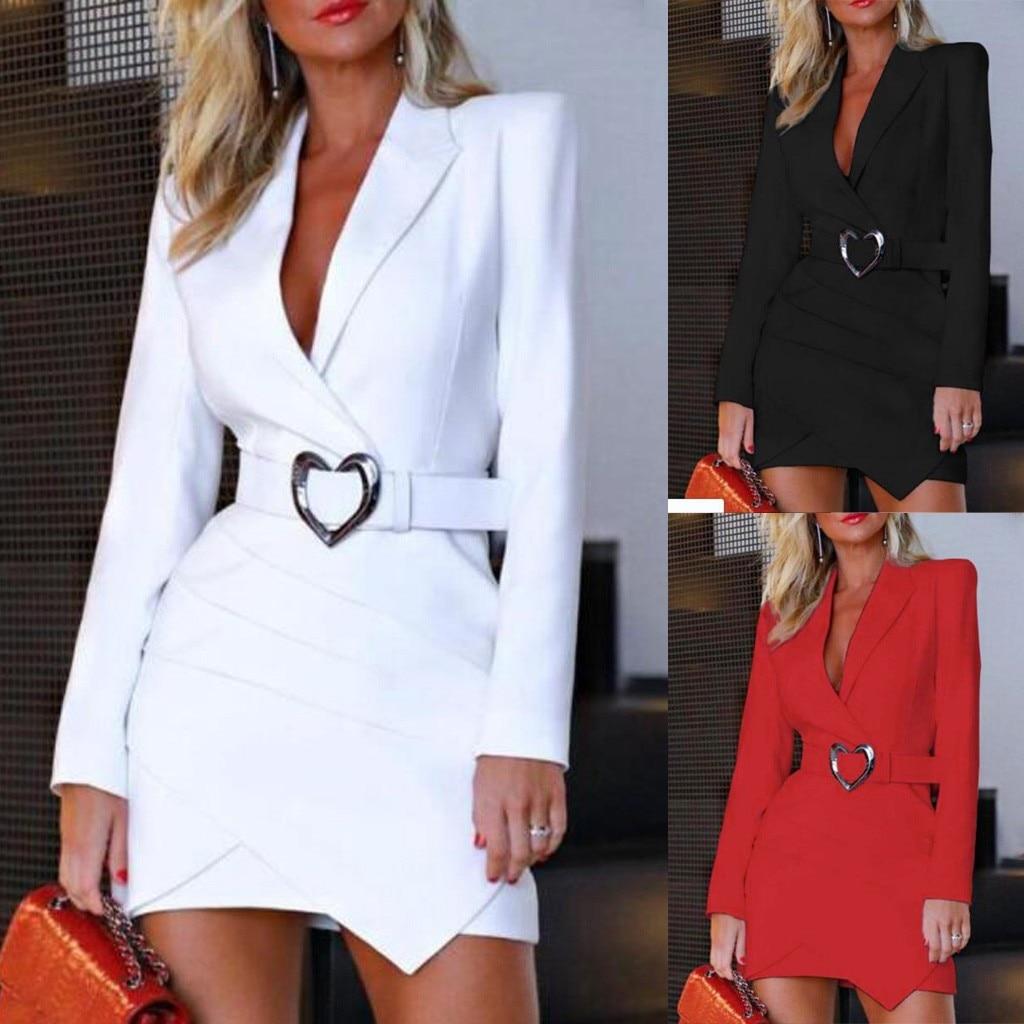 Торжественное платье для женщин, офисное, для девушек, одноцветное, отложной, сексуальный, глубокий VNeck, длинный рукав, перекрещивается, коро...