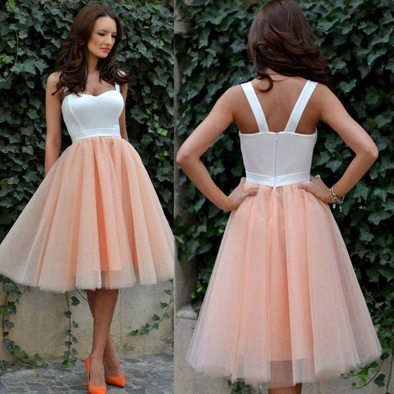 BacklakeGirls White Orange Contrast Color Cocktail Dress Knee-length Spaghetti Wedding Party Tulle Dress Vestidos De Coktail