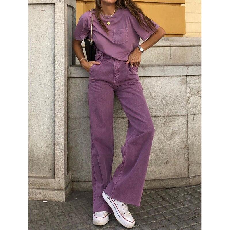 Women High Waist Jeans Baggy Boyfriend Wide Leg Jeans 2020 Cool Fashion Purple Women Cargo Pants Lady Plus Size Flare Trousers