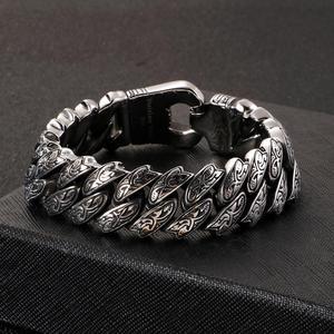 Image 2 - Fongten Retro Cool Link Chain Bracelet Men Black Stainless Steel Engraving Hip Hop Cuff Bracelets Bangle Male Jewelry